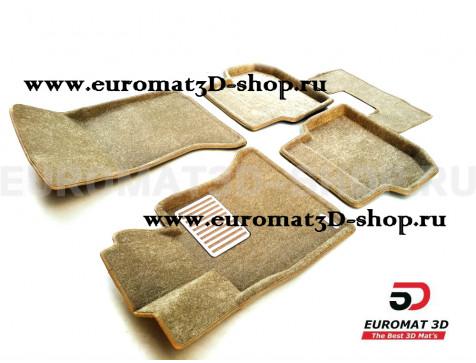 Текстильные 3D коврики Euromat3D Lux в салон для Bmw 5 (F10) (2010-2013) № EM3D-001205T Бежевый